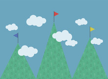Three Green Mountains With A Pattenre Deciduous Trees Of Different Heights Multi-colored Flags On Tops White Clouds Blue Sky Competition Achieve Vector Illustration