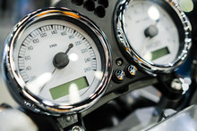 Motorcycle Speedometer Bord And Chrome Details Close Up.