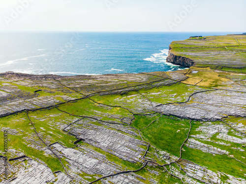 Aerial view of Inishmore or Inis Mor, the largest of the Aran Islands in Galway Bay, Ireland Canvas Print