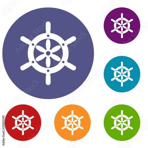 Ship Wheel Icons Set In Flat Circle Red Blue And Green Color For