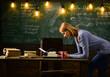 Writer at work. woman writer typing on old typewriter in school.