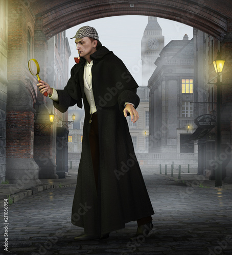 Detective Sherlock Holmes in old London Canvas Print