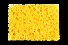 New Yellow Sponge For Washing Dishes On Black Background, Abstract Background