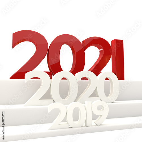 Poster  2021 new year bold letters 3D-illustration