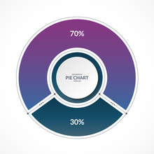 Infographic Pie Chart Circle In Thin Line Flat Style. Share Of 70 And 30 Percent. Vector Illustration.