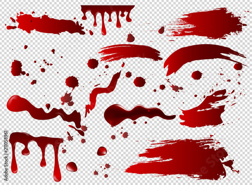 Fotografia Vector illustration set of blood spots, smears, spilled red paint, paint splatters