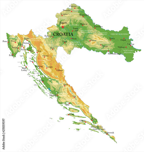 Fototapeta Croatia physical map