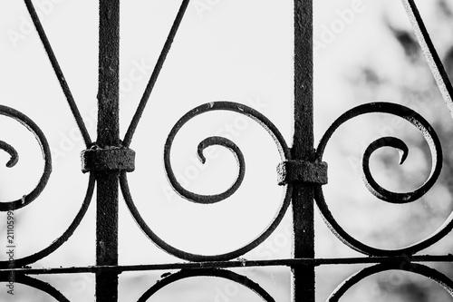 Photo Wrought iron lattice pattern close-up.