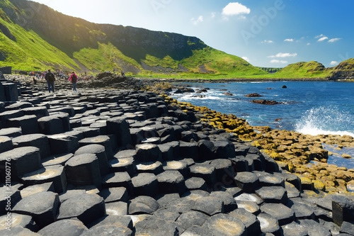 Recess Fitting Northern Europe Giants Causeway, an area of hexagonal basalt stones, created by ancient volcanic fissure eruption, County Antrim, Northern Ireland.