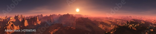 Panorama of Mars. Martian landscape. Extraterrestrial mountain landscape. 3D rendering