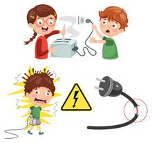Vector Illustration Of Kids Electric Shock