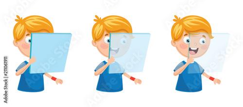 Fotografie, Obraz Vector Illustration Of Kid Holding Glass