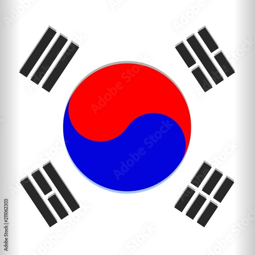 In de dag Draw South Korea Flag Vector illustration with the Blue and Red Yin Yang / Taegukgi Emblem