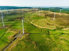 Aerial View Of Wind Turbines Generating Power, In Connemara Region, County Galway, Ireland