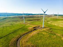 Aerial View Of Wind Turbines Generating Power, In Connemara Region, County Galway, Ireland