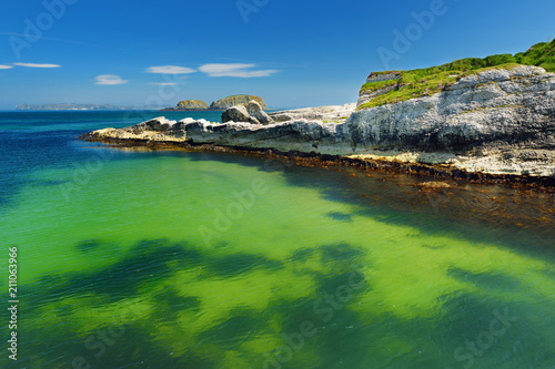 Foto op Canvas Kust Vivid emerald-green water at Ballintoy harbour along the Causeway Coast in County Antrim, Northern Ireland.