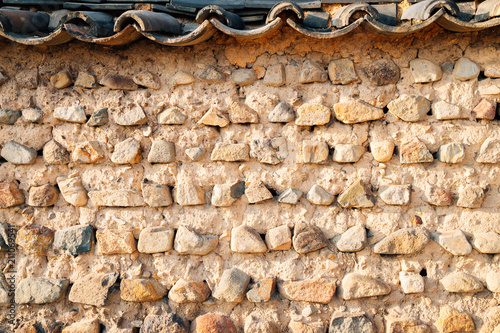 Korean traditional stone wall background
