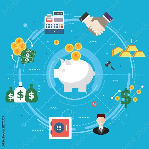 Fototapeta Finance and economy, investment, savings and business. obraz