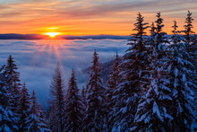 Winter Sunset With Cloud Inversion