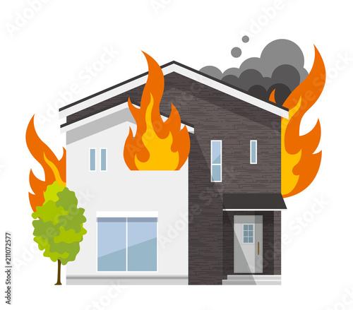 Fotomural 家、一軒家:火事、火災