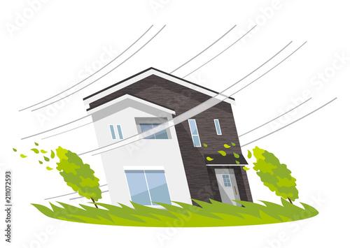 Photo 家、一軒家:災害、強風、台風