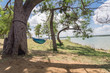 Empty green hammock in shade tree shades at lakeside park in Grand Prairie, Texas, USA. Vacation, relaxation and enjoy the beauty of the nature. Wanderlust and travel concept, cloud blue sky