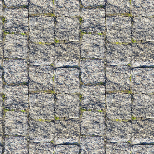 Deurstickers Stenen Seamless photo texture of pavement tile from stone with grass