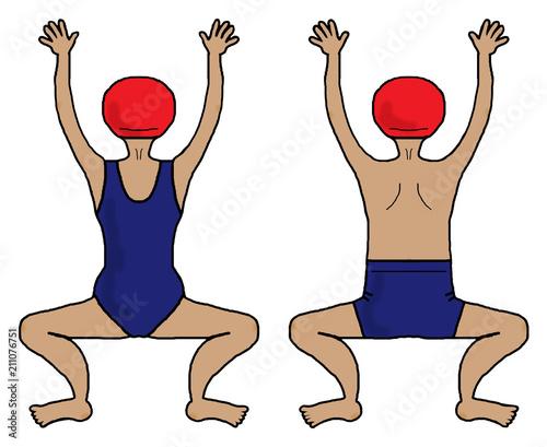 スイミング 準備体操平泳ぎ 少し日焼け Adobe Stock でこの