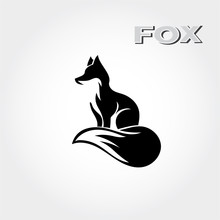 Elegant Stand Fox Logo Art Wit...