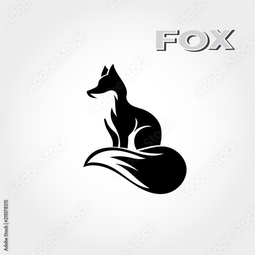 Photo elegant Stand fox logo art with graceful tail