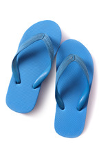 Flip Flop Sandals Blue Isolated On White Background