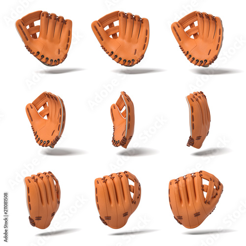 3d rendering of many orange leather baseball gloves in different angles of view on a white background Poster