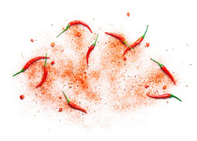 Red Chili Pepper And Powder Over White Background