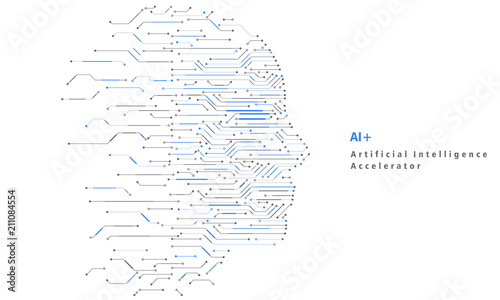 Photo Artificial Intelligence and Big Data, Internet of Things Concept