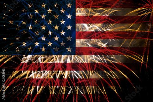 Obraz united states flag fireworks on night sky - fototapety do salonu