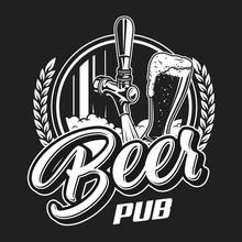 Vintage Beer Pub Logotype Conc...