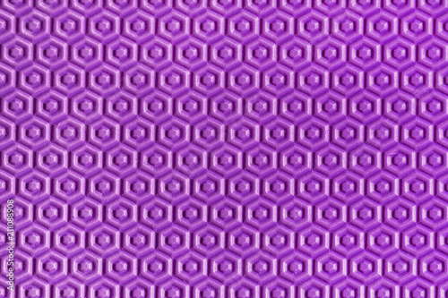 Spoed Foto op Canvas Psychedelic Close-up beautiful geometric purple hexagonal texture. Purple soft playing mat honeycomb textured details