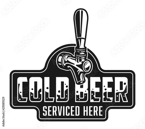 Vintage cold beer logotype template Canvas Print