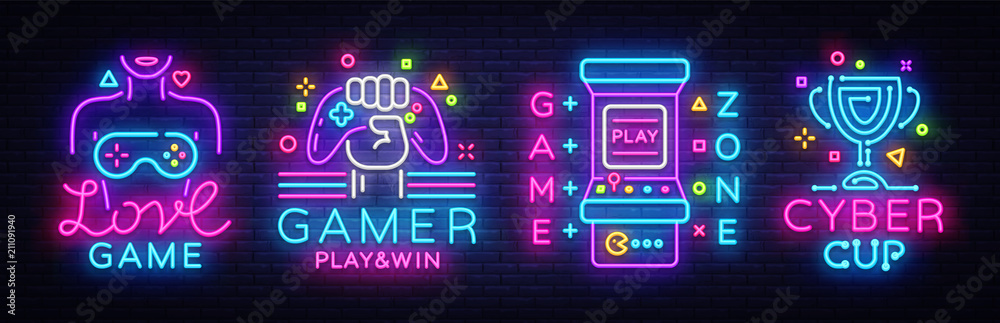 Fototapeta Video Game neon sign collection vector. Conceptual Logos, Love Game, Gamer logo, Game Zone, Cyber sport Emblem in Modern Trend Design, Vector Template, Light Banner, Design Element. Vector