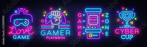 Fototapeta Video Game neon sign collection vector. Conceptual Logos, Love Game, Gamer logo, Game Zone, Cyber sport Emblem in Modern Trend Design, Vector Template, Light Banner, Design Element. Vector obraz