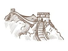 Great Wall Of China Monochrome...