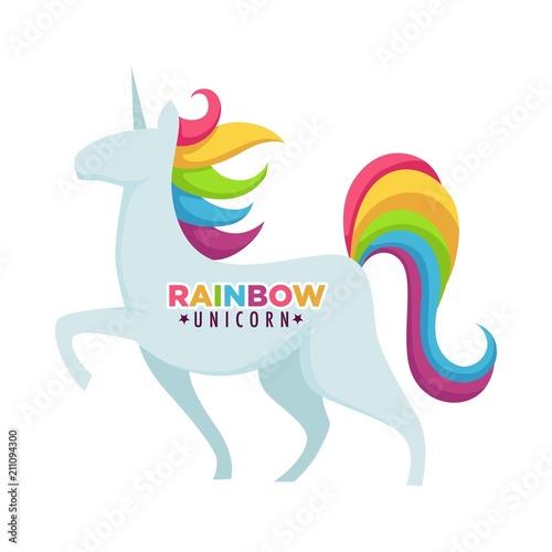 In de dag Regenboog Rainbow unicorn poster with headline title vector illustration