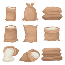 Flat Vectoe Set Of Burlap Sacks With Rice Or Flour. Large Textile Bags. Agricultural Product. Elements For Promo Poster Or Banner