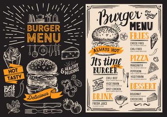 Burger restaurant menu. Foo...