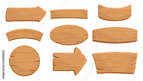 Fototapeta Flat vector set of various wooden signboards and direction arrows. Natural texture. Signs with place for your messages. Mobile game assets obraz