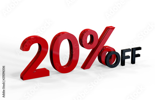 Fotografía  20 Percent Off, 3D Text