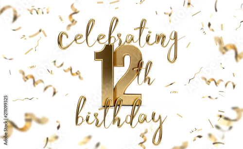 Photo  Celebrating 12th birthday gold greeting card with confetti