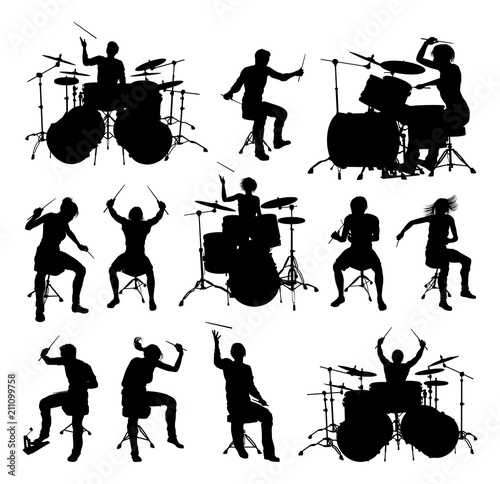 Silhouettes Drummers Canvas Print
