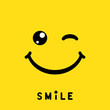 Smile sign, icon, label, logo, symbol on yellow background. Vector illustration
