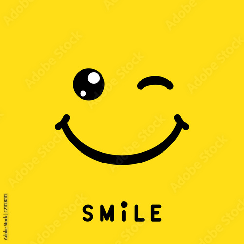 Carta da parati  Smile sign, icon, label, logo, symbol on yellow background